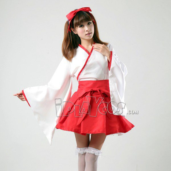 Japanese Temple Miss Miko Maid Cosplay Costume Witch kimono clothes cosplay uniform apron dress set