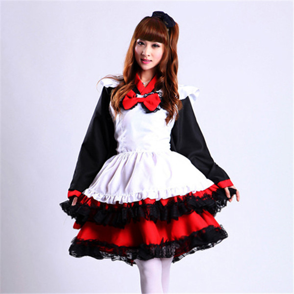 Classic black and red lolita vintage kimono cosplay high quality maid dress with apron women robe costume cosplay