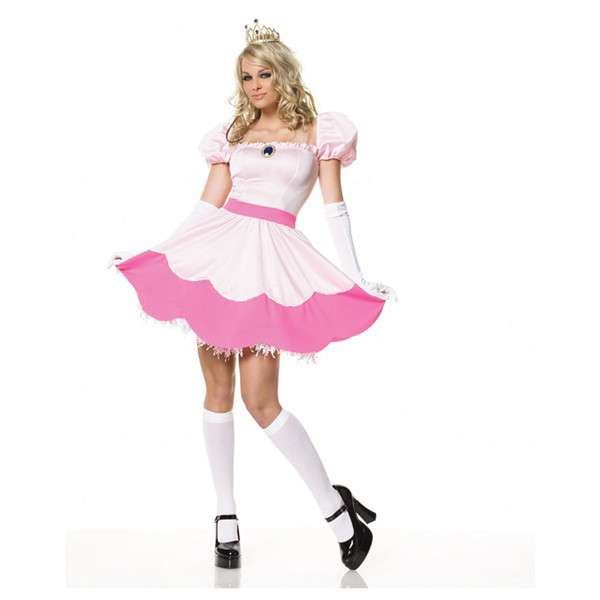 Super Mario Princess Cosplay Evening Wear Dress