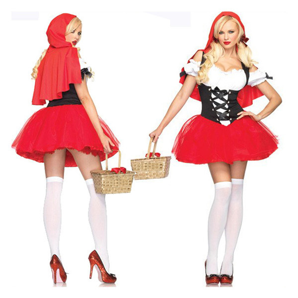 Lovely Little Red Riding Lolita Women's Halloween Cosplay Hood Dress