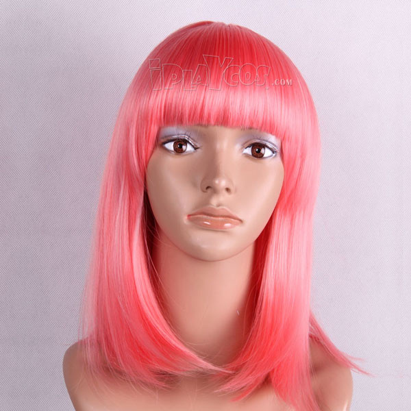 Pink Medium Straight Anime Cosplay Wig