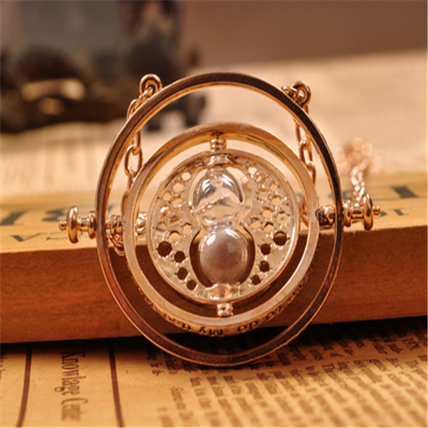 High Quality 18K Gold Plated Harry Potter Necklace Time Turner Hermione Granger Hourglass Pendant Jewelry