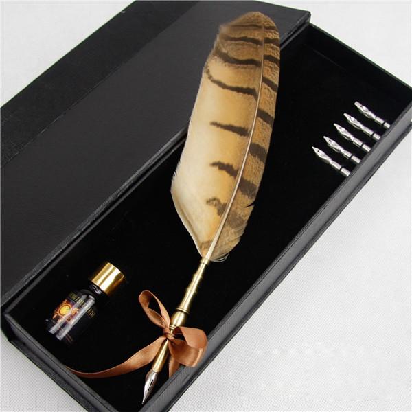 Natural owl feather pen set unique business corporate souvenir gift