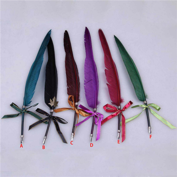 Christmas gift 2014 fashion quill pen, retro feather pen,quill dip multicolor
