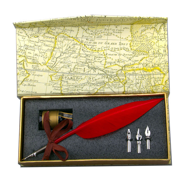 Vintage Style Vermilion Feather Quill Nib Pen & Writing Ink set