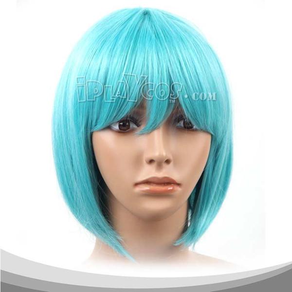 淡蓝色收脸短发假发 高温丝 动漫假发