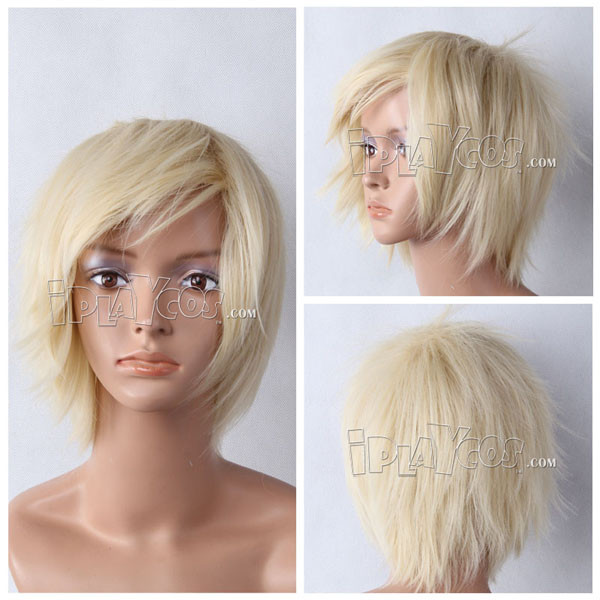 Beige Short Straight Anime Cosplay Synthetic Wig