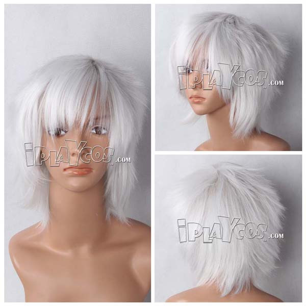 Silver Short Straight Anime Cosplay Synthetic Wig