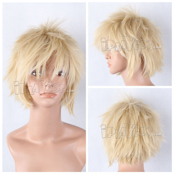 Blonde Short Shaggy Anime Cosplay Wig