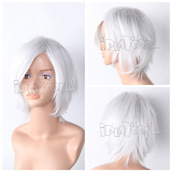 Silvery-white Short Straight Anime Cosplay Wig Full Wig