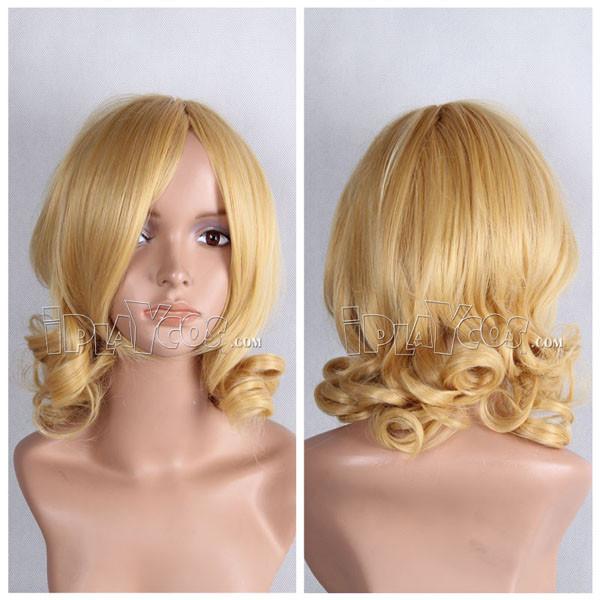 Blonde Medium Curly Anime Cosplay Wig