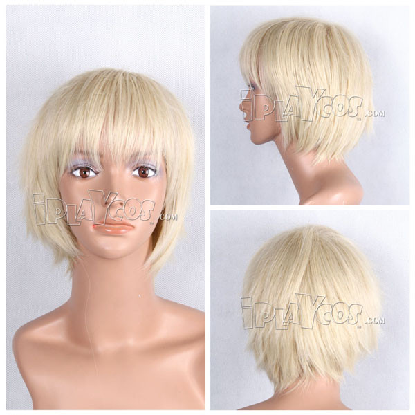 Beige Short Straight Anime Cosplay Hair Synthetic Wig