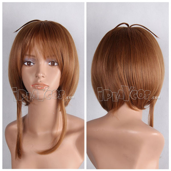 Brown Two Ponytails Short Straight Anime Cosplay Wig