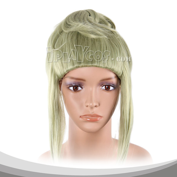 Pale Green Medium Wavy With Two Braids Cosplay Wig