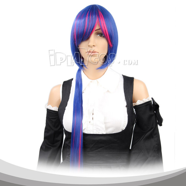Blue Red Gradient Whit Ponytail Long Cosplay Wig