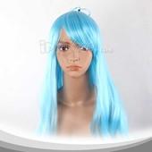 淡蓝色长卷假发 高温丝 动漫假发