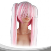 Pink White Fusion Long Straight With Two Pigtails Cosplay Wig