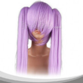 Purple Long Straight Two Pigtails Cosplay Wig
