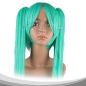 Green Long Straight Two Pigtails Cosplay Wig