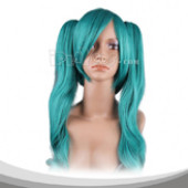 Light Sea Green Long Wavy With Two Pigtails Cosplay Wig