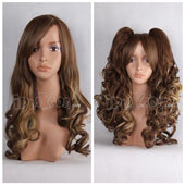 Brown Long Curly With Two Clipons Pigtails Anime Cosplay Wig