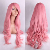 Pink Long Curly Anime Cosplay Synthetic Wig