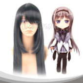 Black Akemi Homura Long Straight Cosplay Wig