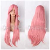 Pink 80cm Long Straight Anime Cosplay Wig Lace Wig