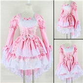 Pink Cotton Polyester Lolita Princess Alice Dress Cosplay with Two Removable Sleeves