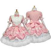 Pink maid dress lolita apron cosplay costume