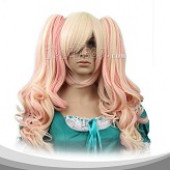 Beige And Pink Medium Curly Cosplay Wig