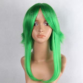 Green Medium Straight Two Braids Anime Cosplay Wig