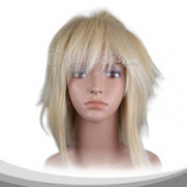 Beige Upturned Medium Straight Cosplay Wig