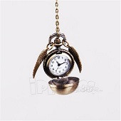 Harry Potter Golden Snitch silver wings Watch Necklace Quidditch Pocket Clock