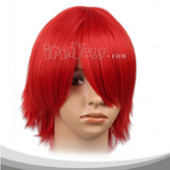 Red Short Straight Full lace Wig Anime Cosplay Wig