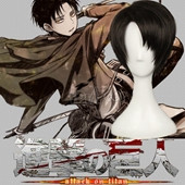 Attack on Titan Rivaille Black Short Straight Anime Cosplay Wig