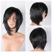 Black Short 36cm/14'' Straight Adductive Anime Cosplay Wig