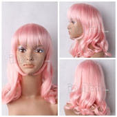 Pink Medium Wavy Wig Anime Cosplay Wig