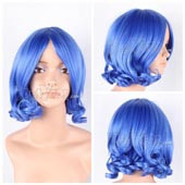 Blue Short Curly Anime Cosplay Wig