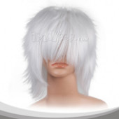 White Short  Shaggy Cosplay Wig