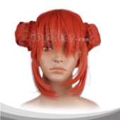 Red Bud head Medium Straight Cosplay Wig