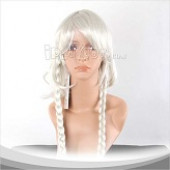 White Long Straight With Two Braids Cosplay Wig