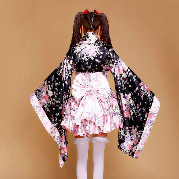 Japanese New Kimono Lolita Maid Uniform Anime Cosplay Costume SakuraDress Outfit