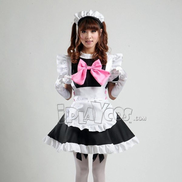 maid-equipment-cosplay-women-s-black-maid-costume-with-a-pink-bowknot-lolita-apron-dress-set-1
