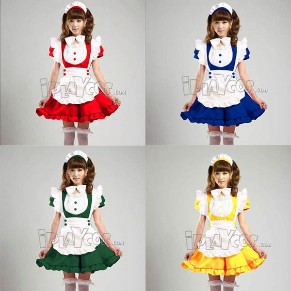 sweet-princess-cosplay-maid-clothes-lolita-yellow-blue-green-red-pink-apron-dress-set-maid-service-1