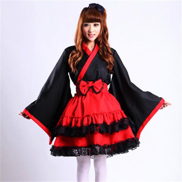经典lolita黑红和服cosplay女仆装女仆洋装古装cosplay