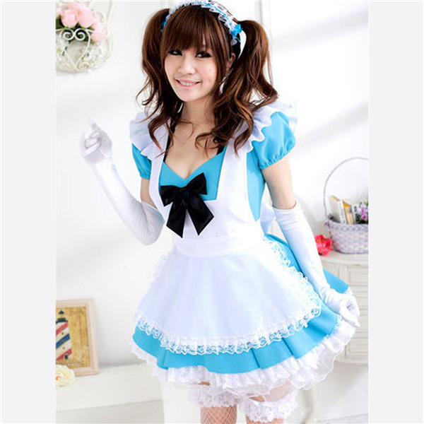 Blue Cotton Lovey Princess Lolita Alice Coffee Bar Party Dress Anime Maid Dress Cosplay