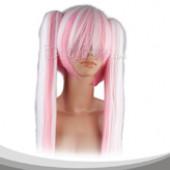 浅粉色白色相间双马尾长直假发