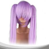 紫色双马尾长直假发