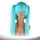水蓝色双马尾长直假发